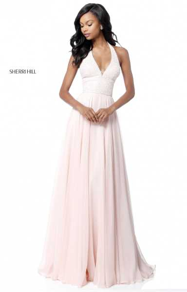Sherri Hill 51640 Halter, Has Straps and V-Shape picture 1