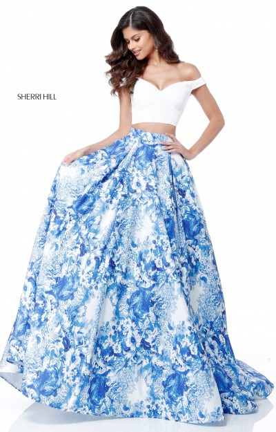 Off the Shoulder 2 Piece Printed Ball Gown
