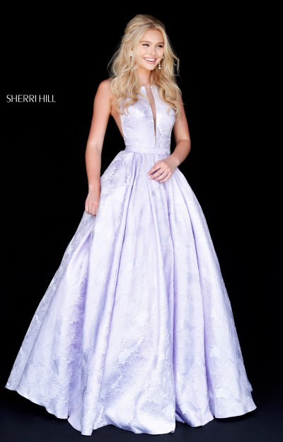 Long V Neck Ball Gown