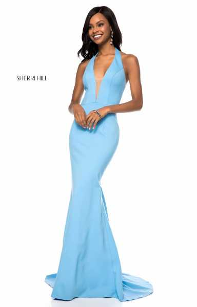 Sherri Hill 51773 Halter, Has Straps and V-Shape picture 1