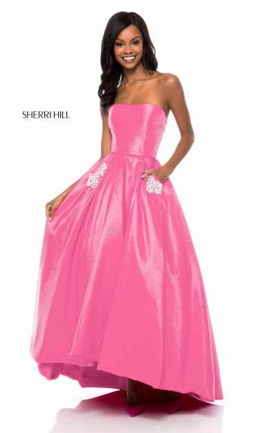 Simple Strapless Ball Gown with Pockets