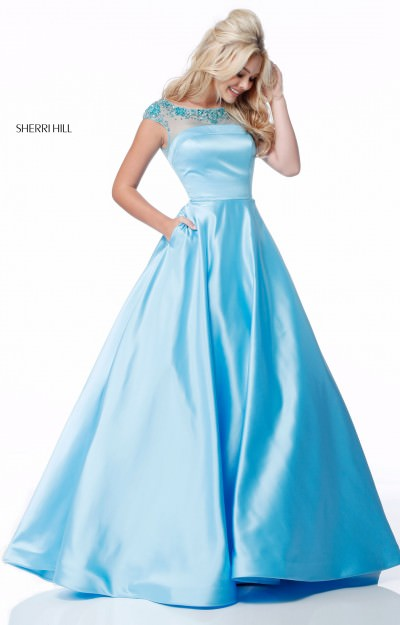 Long Satin Ball Gown Cap Sleeves