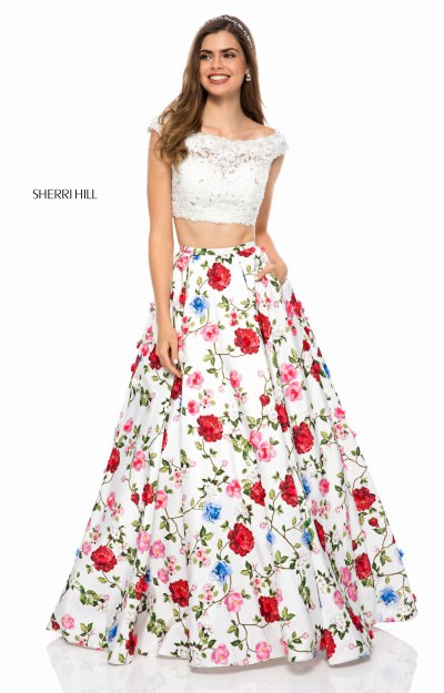 2 Piece Floral Print Ball Gown