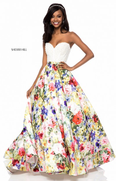 Strapless Sweetheart Floral Ball Gown