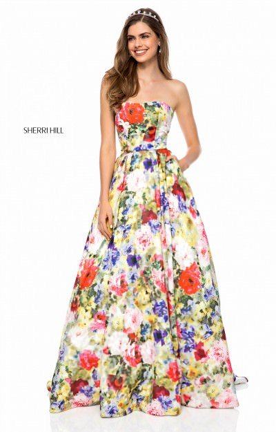 Strapless Floral Printed Ball Gown