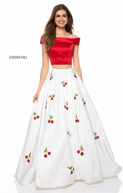 Long 2 Piece Off the Shoulder Ball Gown