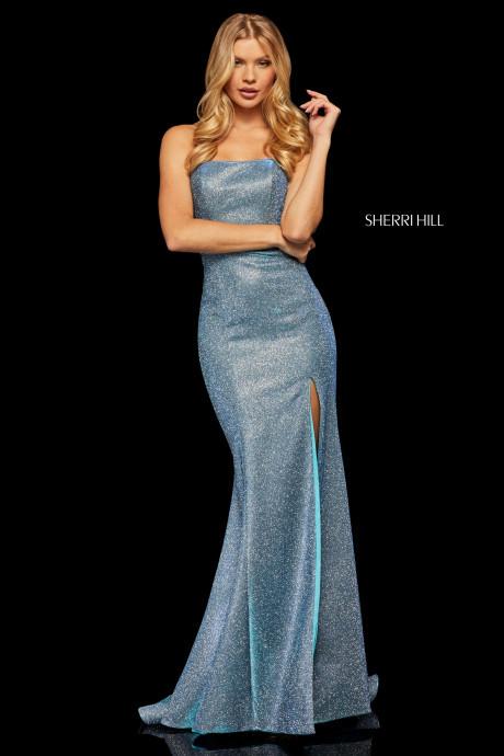 Sherri Hill 52362 Glitter Stretch Strapless Mermaid Gown