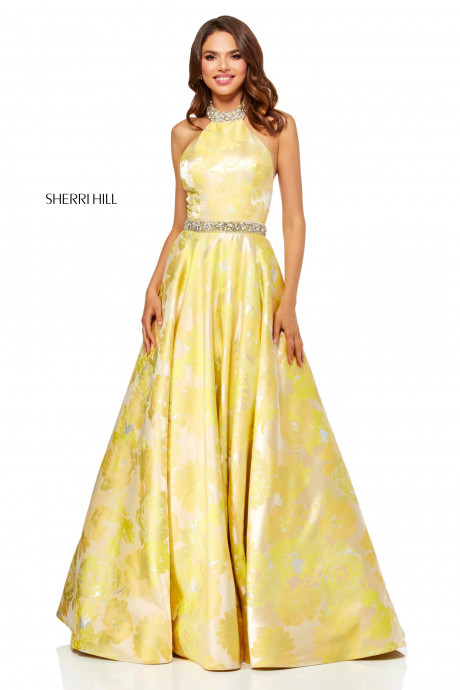 Sherri Hill 52425 Yellow Floral Print Ball Gown With
