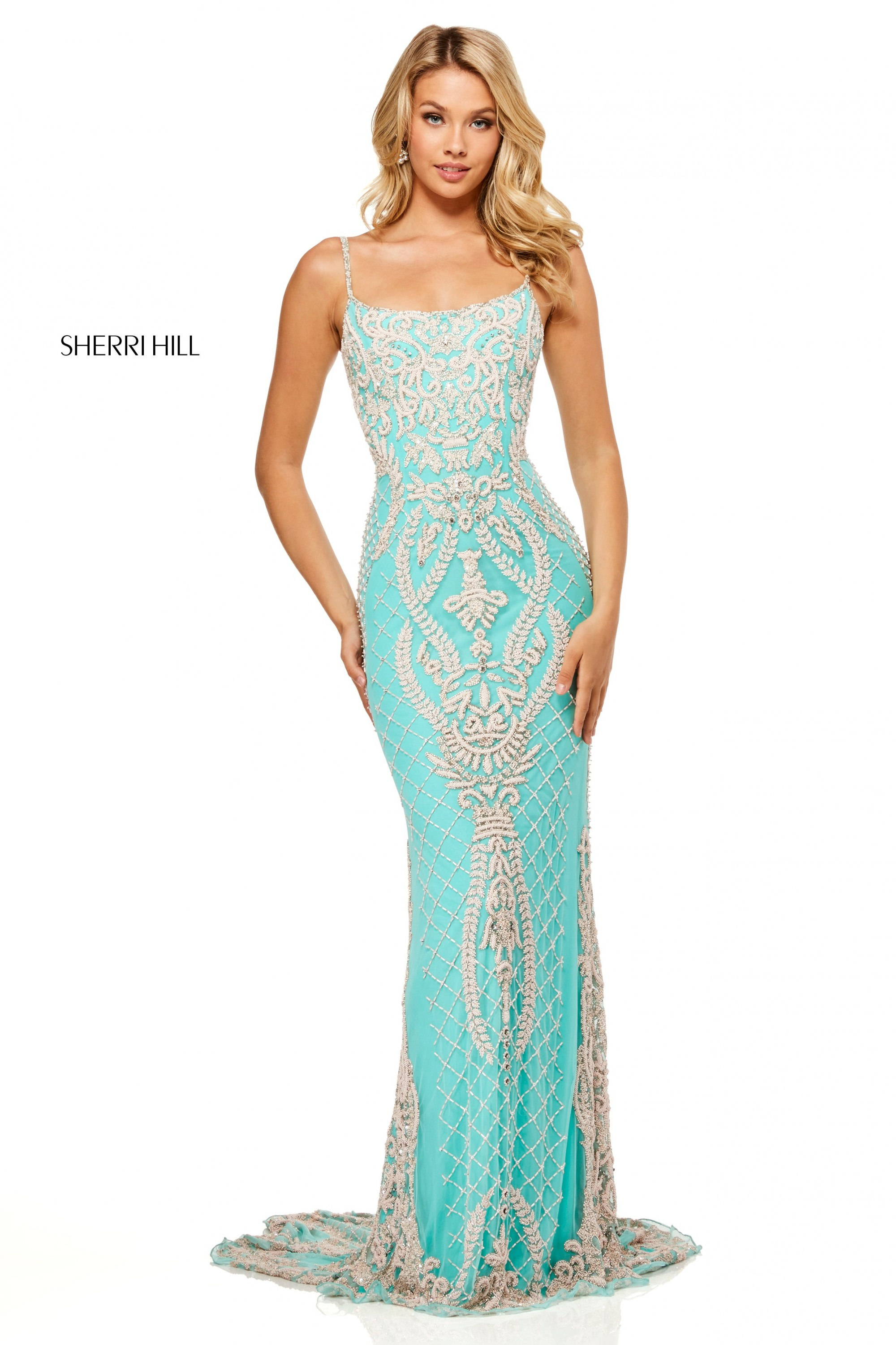 d117a4e5 Sherri Hill 52454 - Form Fitting Fully Beaded Open Back Gown