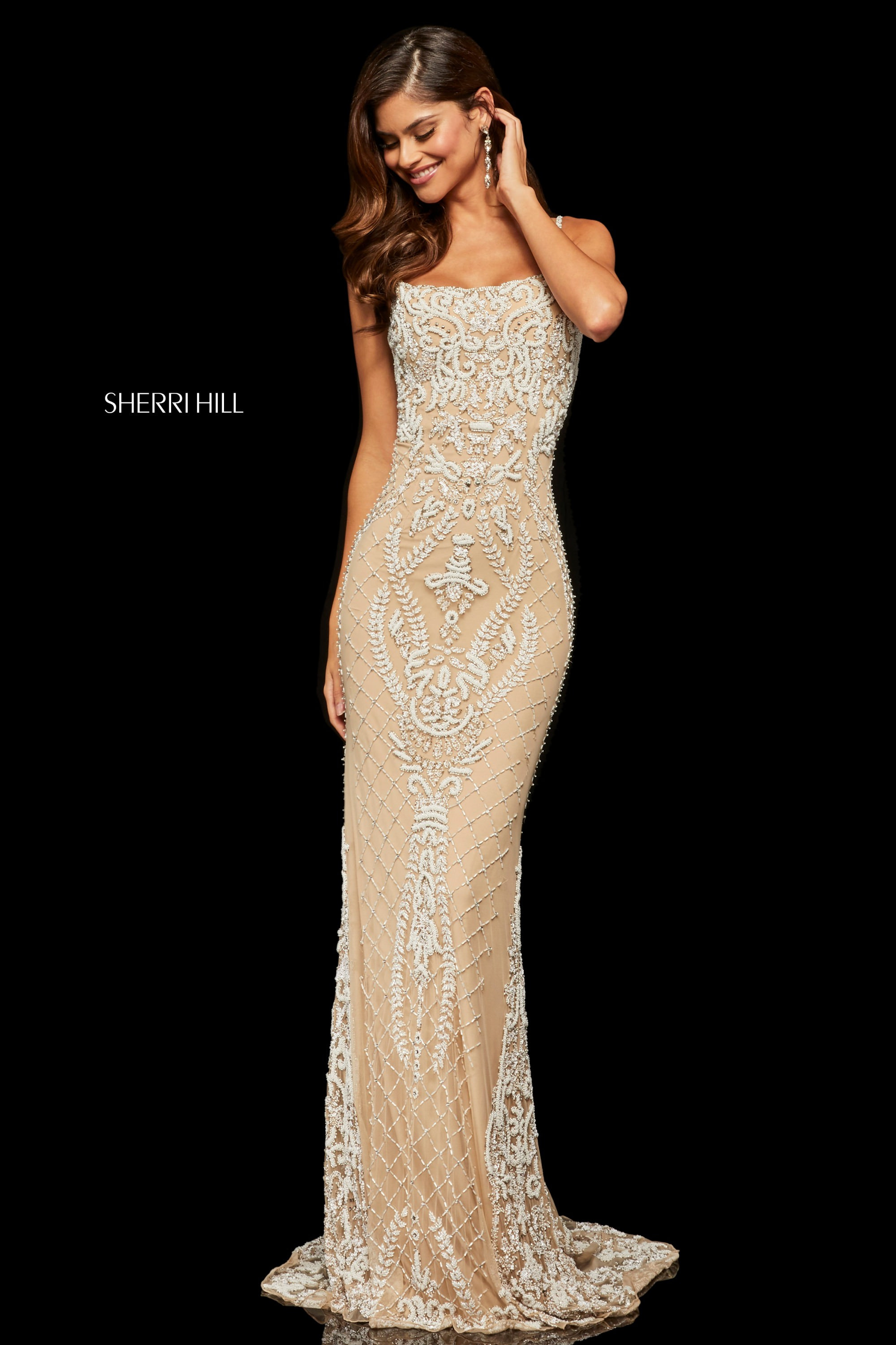 Sherri Hill 52454 Form Fitting Fully Beaded Open Back Gown