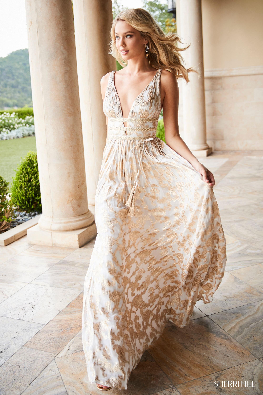 95f5d658fbdef Sherri Hill 52474 - Greek Goddess Free Flowing Printed Gown