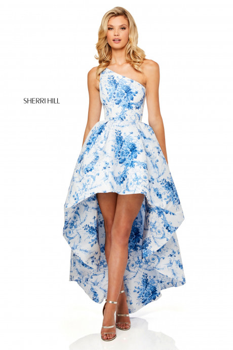 Sherri Hill 52530 One Shoulder High Low Floral Dress