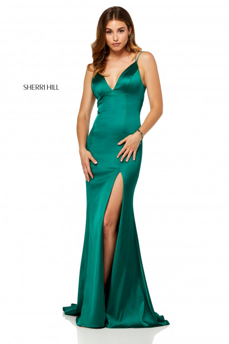 Sherri Hill 52548 V Neck Dress With Slit And Lace Up Back