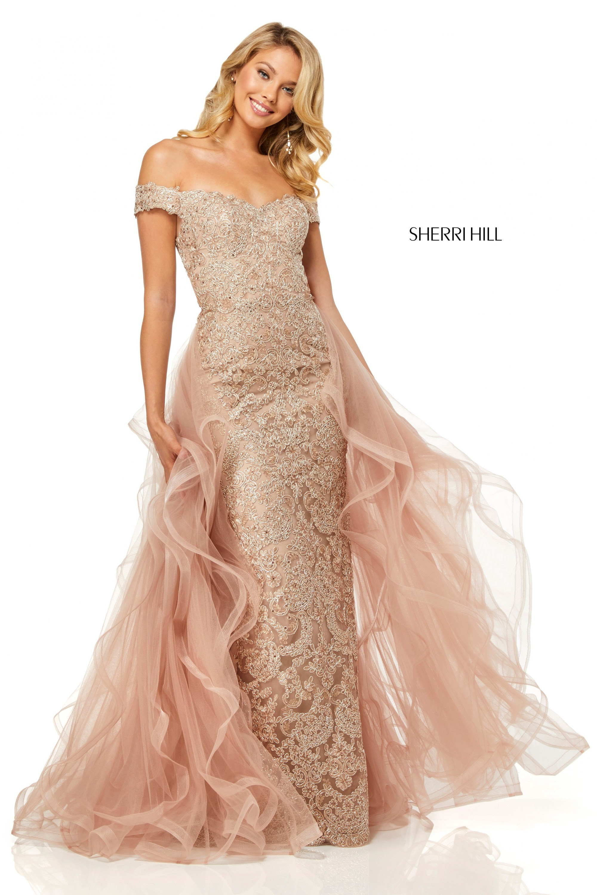 Sherri Hill 52556 Fitted Off The Shoulder With Removable