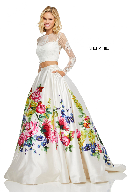 c94239c4ed351 Sherri Hill 52625 - Long Sleeve Two Piece Ball Gown