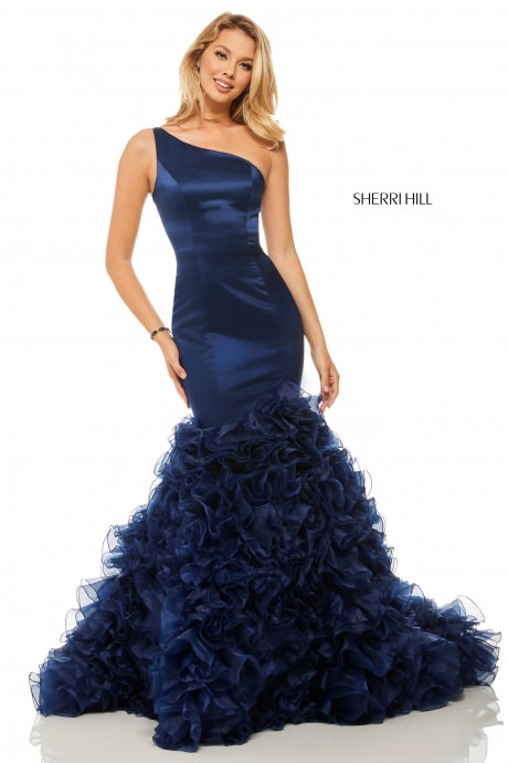 Sherri Hill 52775 One Shoulder Simple Fit And Flare