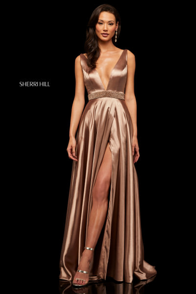 31971ab99f Fitted High Neckline Open Back Long Evening Dress  290.00. Sherri Hill 52564