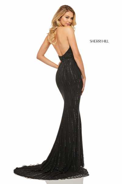 Sherri Hill 52807 Halter, Has Straps and V-Shape picture 1