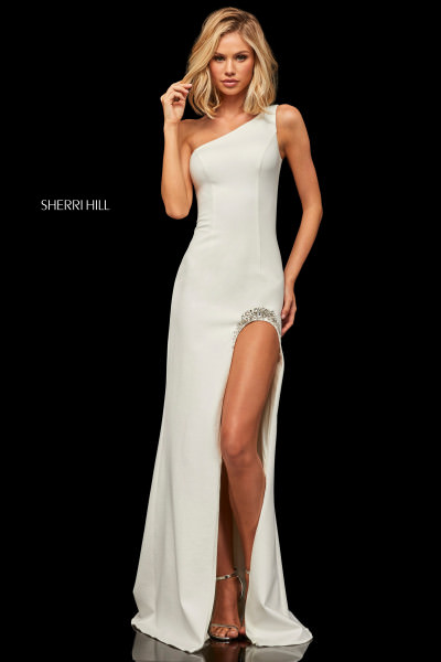 One Shoulder Fitted High Slit Gown