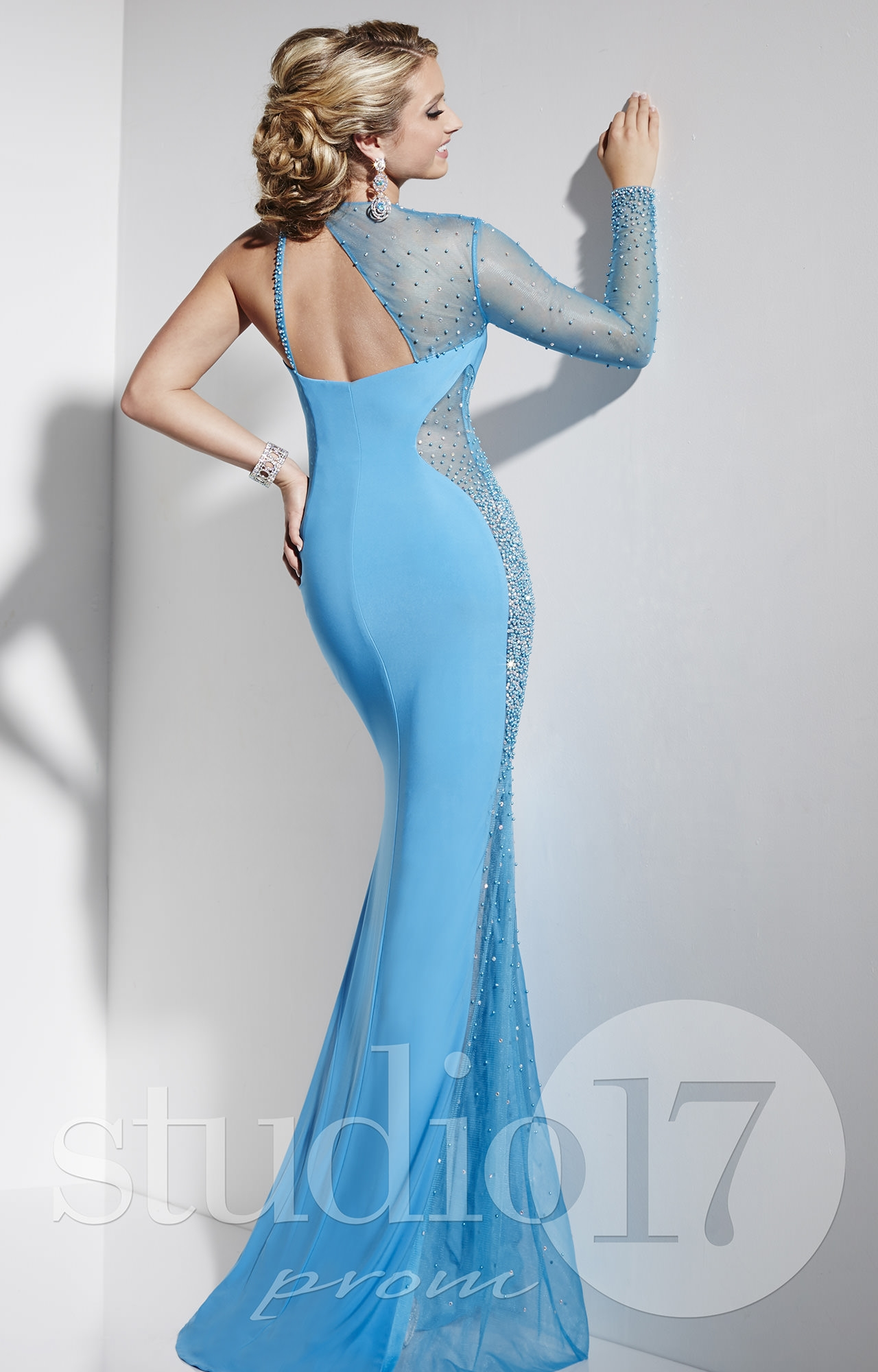 Studio 17 12582 - Trumpet Skirt One Sleeve Gown Prom Dress