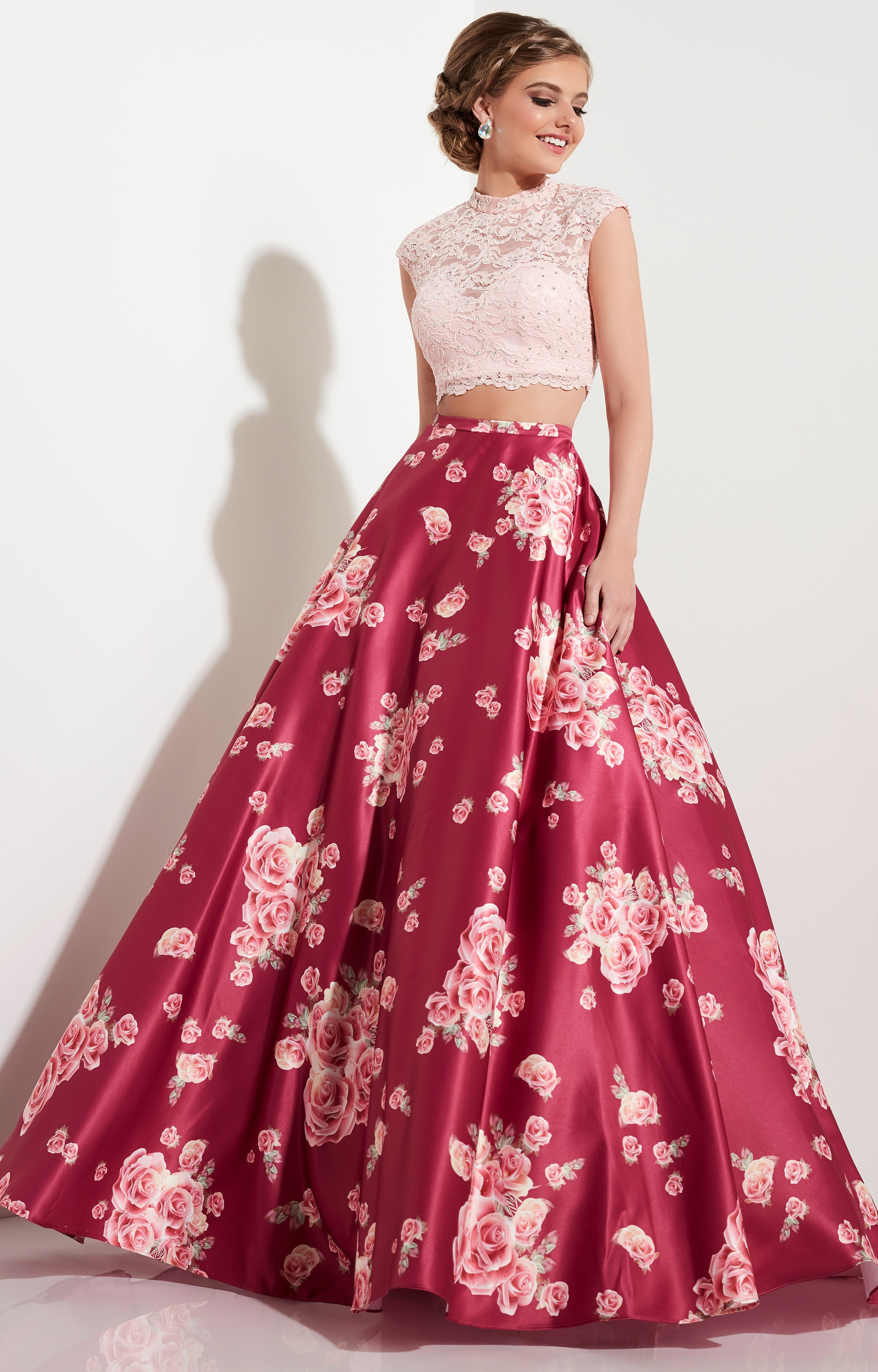 Studio 17 12603 - Cap Sleeve Lace Two Piece with Floral Ballgown ...