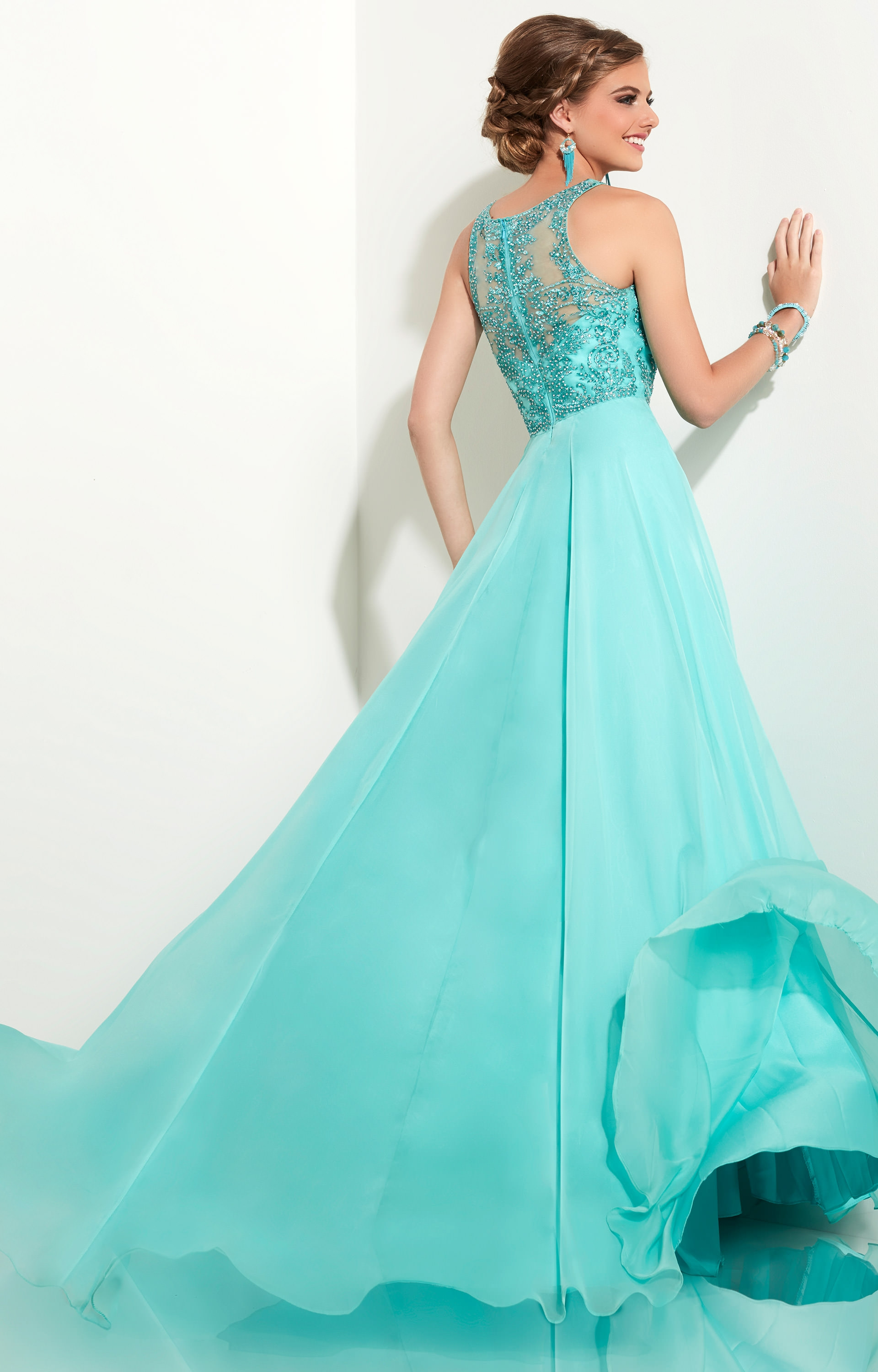 Studio 17 12612 - Chiffon Skirt with Beaded Halter Top Dress Prom ...
