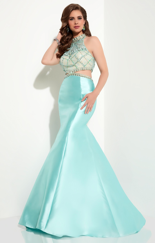 Studio 17 12615 - Mock Two Piece Mermaid Dress Prom Dress