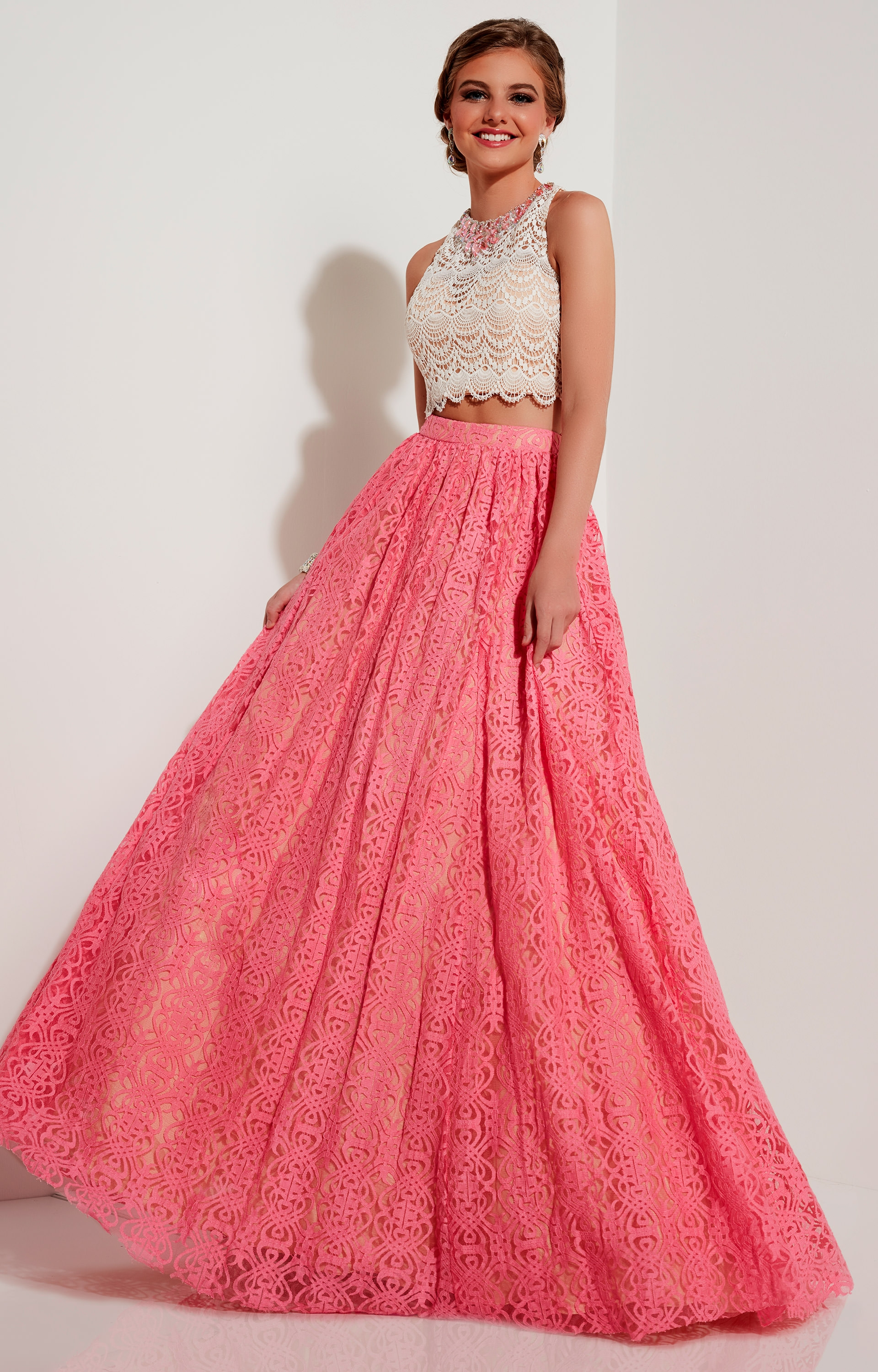 Studio 17 12617 - Crochet Lace Two Piece Ballgown Prom Dress