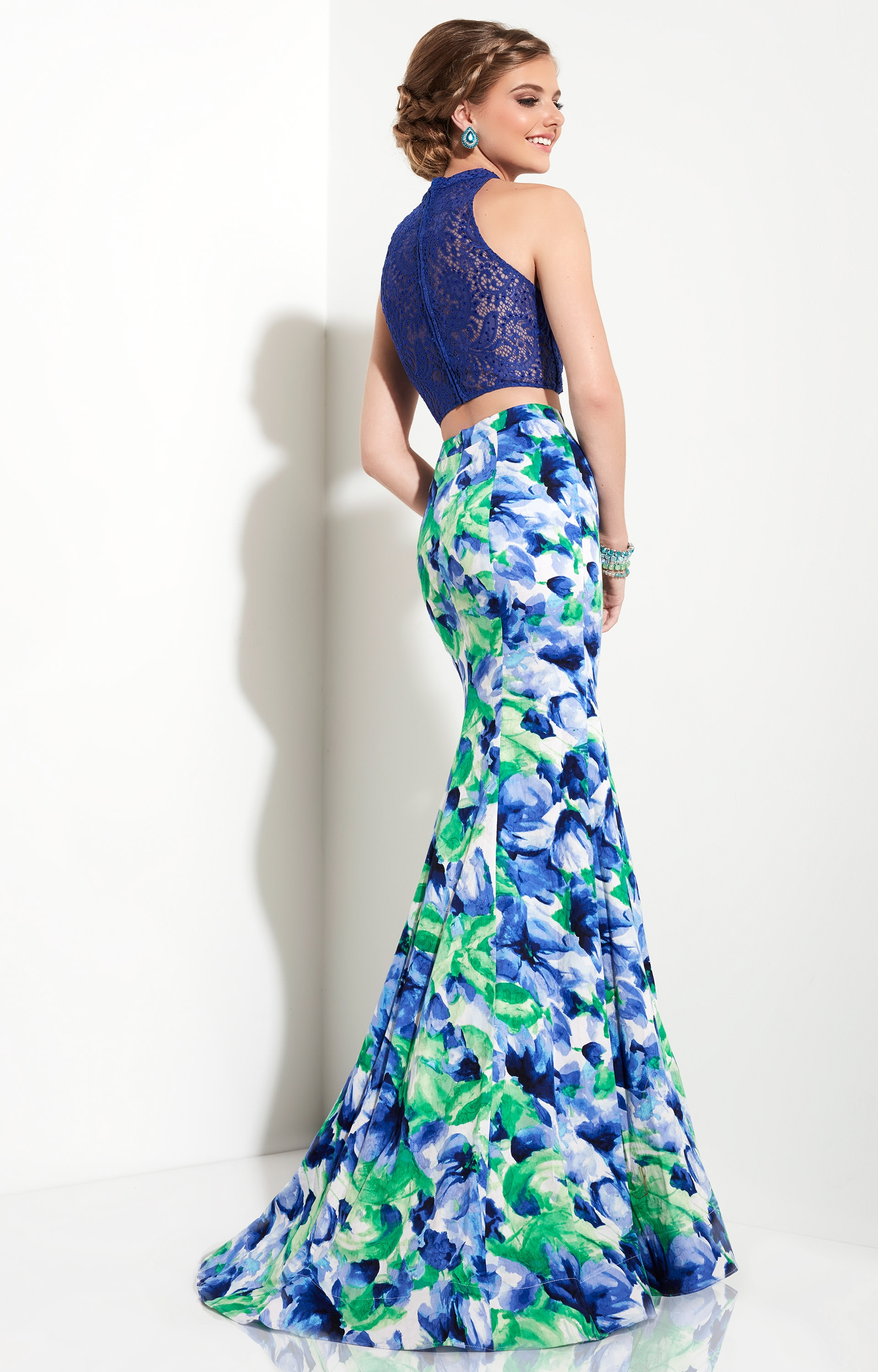 Studio 17 12620 - Printed Floral Satin Two Piece Prom Dress