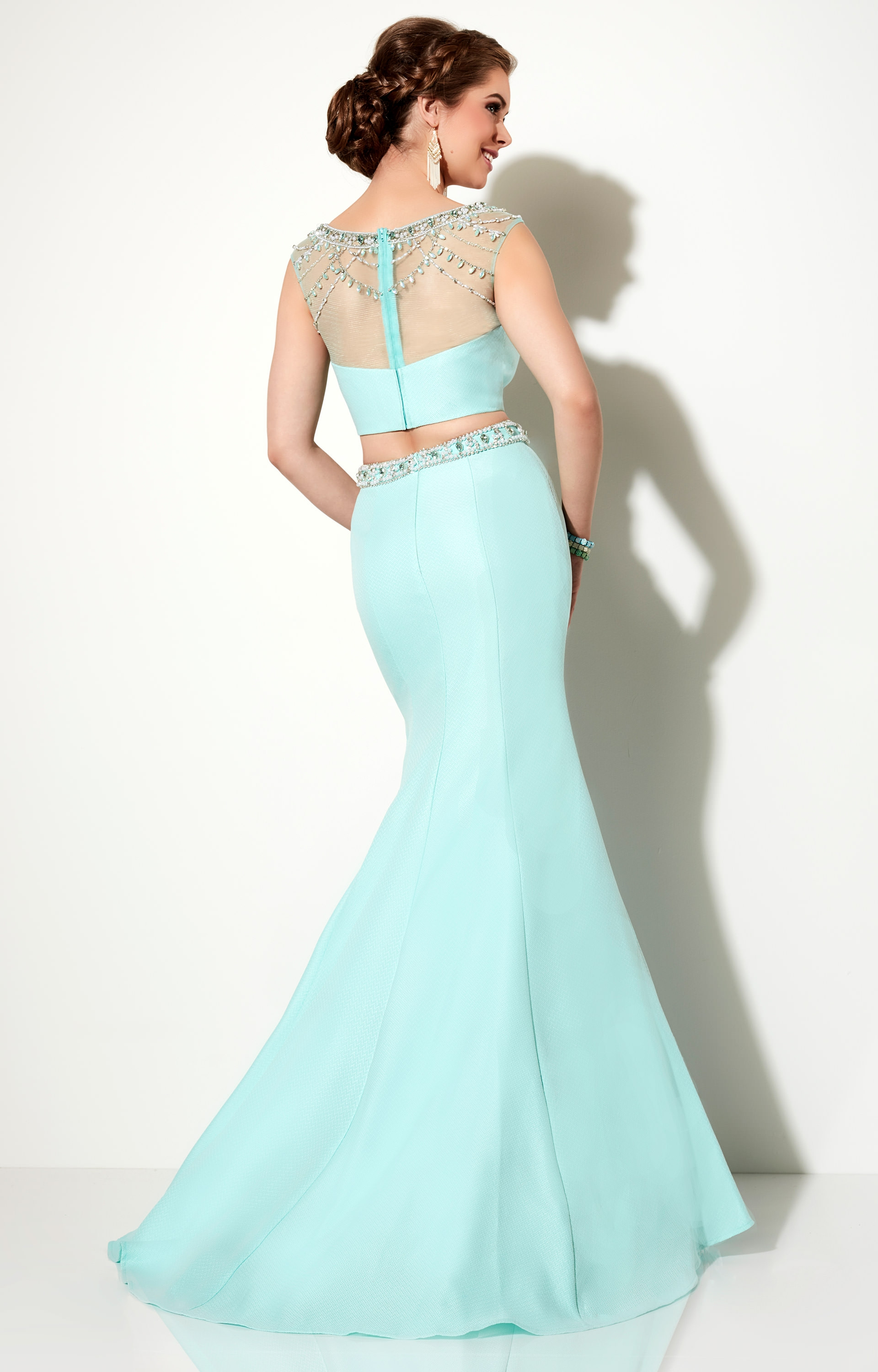 Studio 17 12625 - Beaded Two Piece with Cap Sleeves Prom Dress