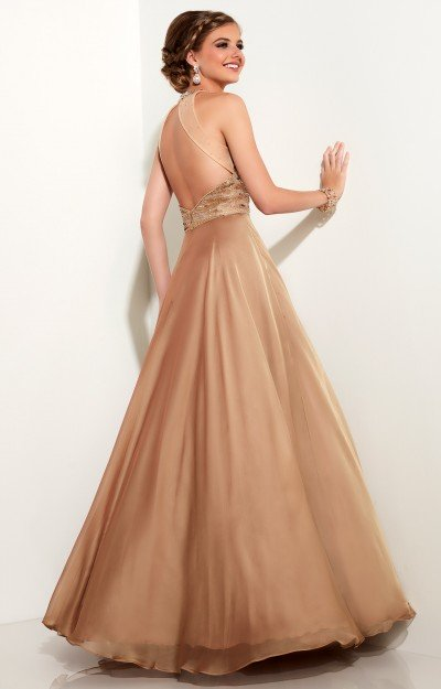 Chiffon Ball Gown with Open Back