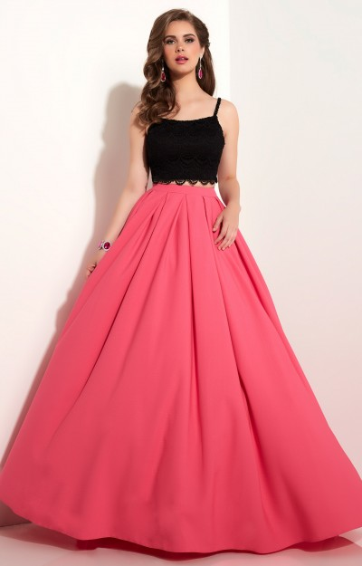 Two-Piece Textured Taffeta Ball Gown with Lace Crochet Lace Spaghetti Strap Top