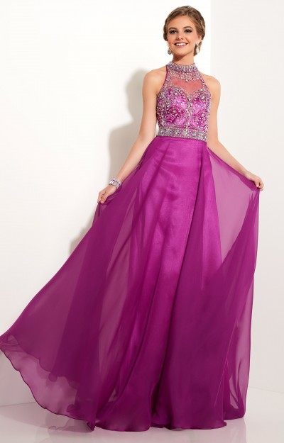 Beaded Halter Neckline with Chiffon Skirt