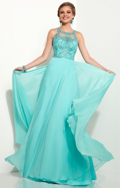 Chiffon Skirt with Beaded Halter Top Dress