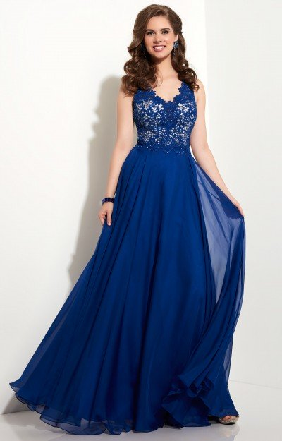 V-Neck Chiffon A-Line with Lace Applique
