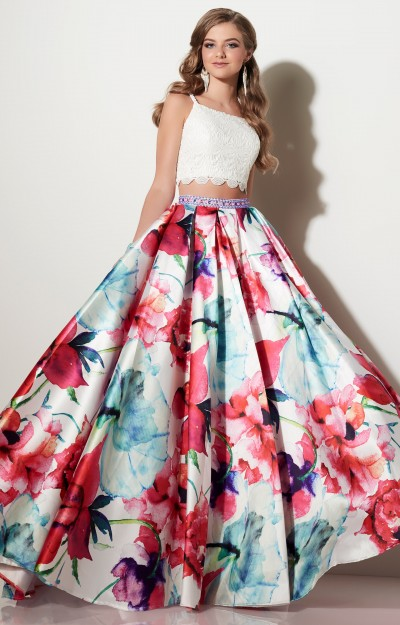 Lace Two Piece with Floral Ballgown