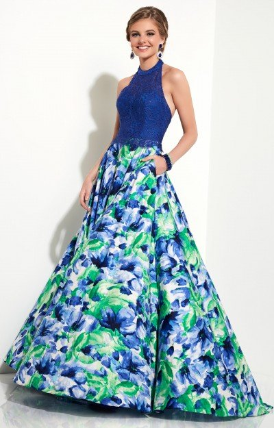 Lace Halter Top Floral Printed Ball Gown Skirt