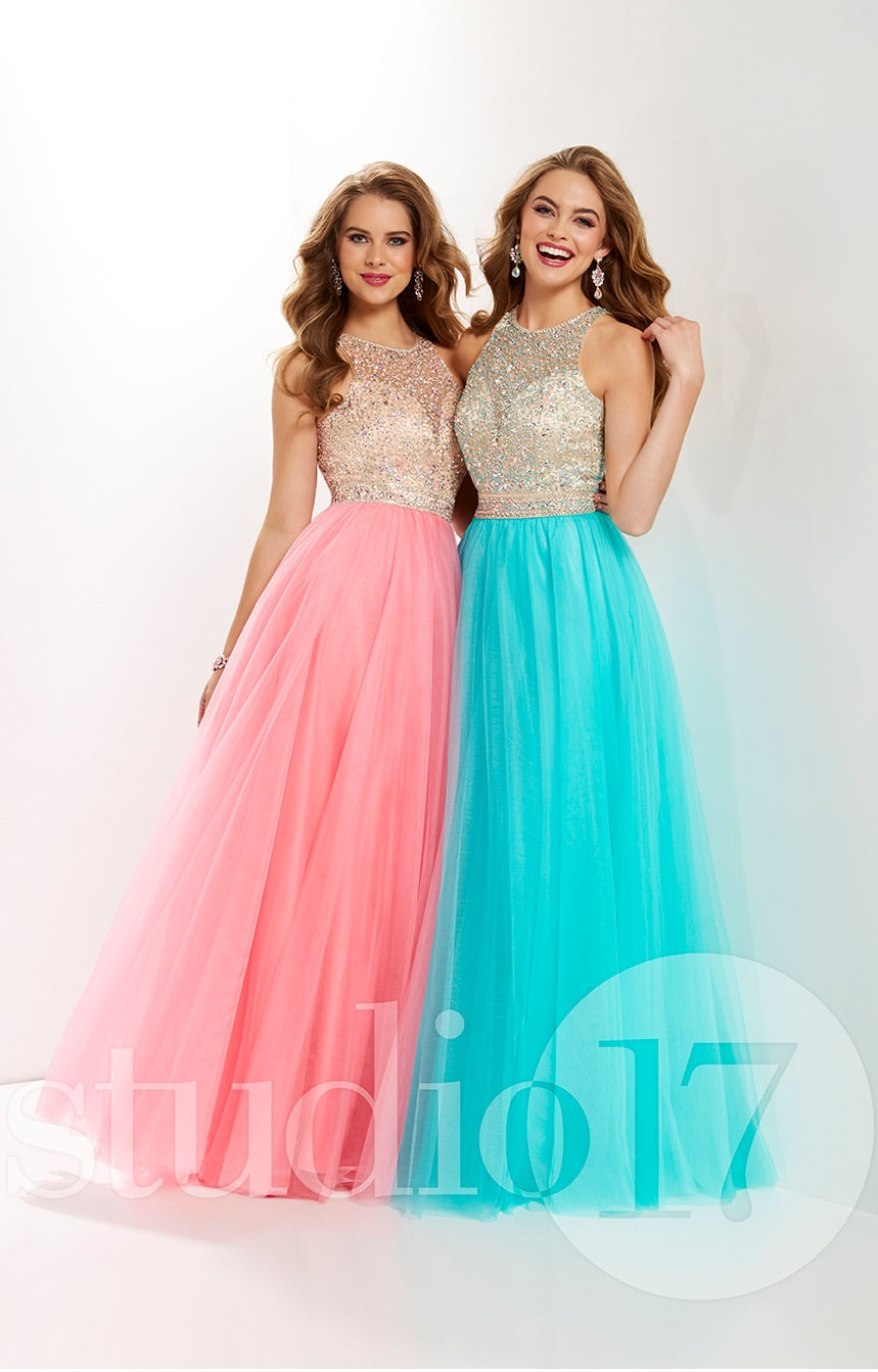 Studio 17 12667 - Sleeveless Long A-Line Tulle Prom Dress