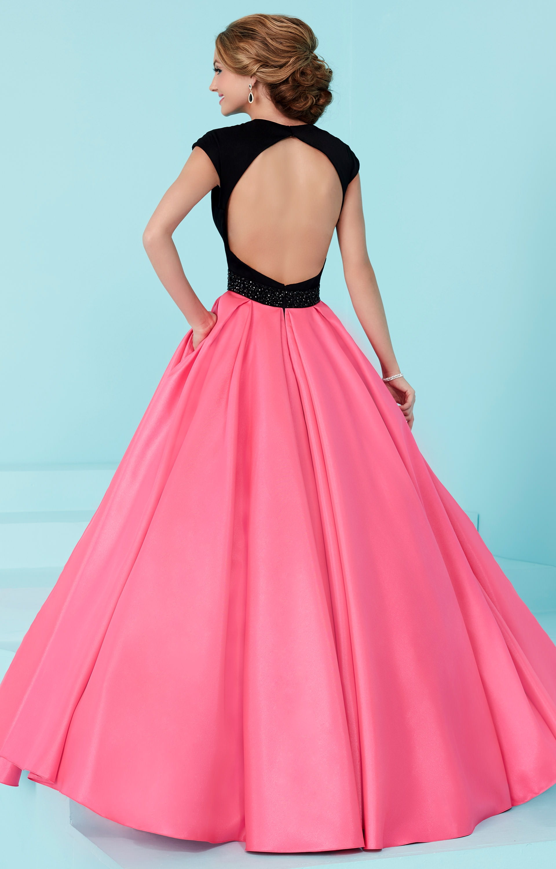 Tiffany Designs 16200 - A-Line Cap Sleeved V Neck Shimmer Satin Ball ...