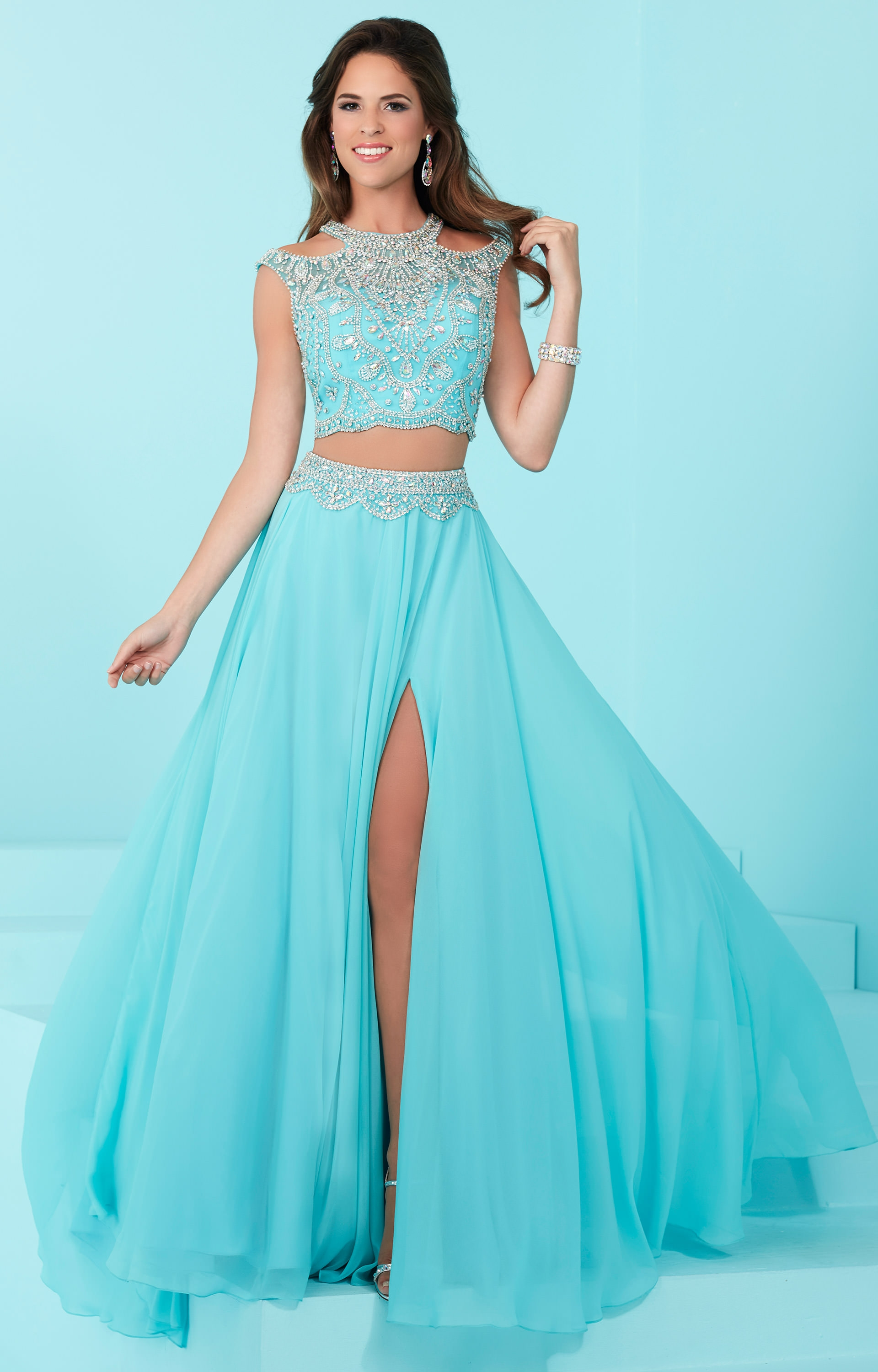 Tiffany Designs 16202 - 2 Piece Dress with High Slit Prom Dress