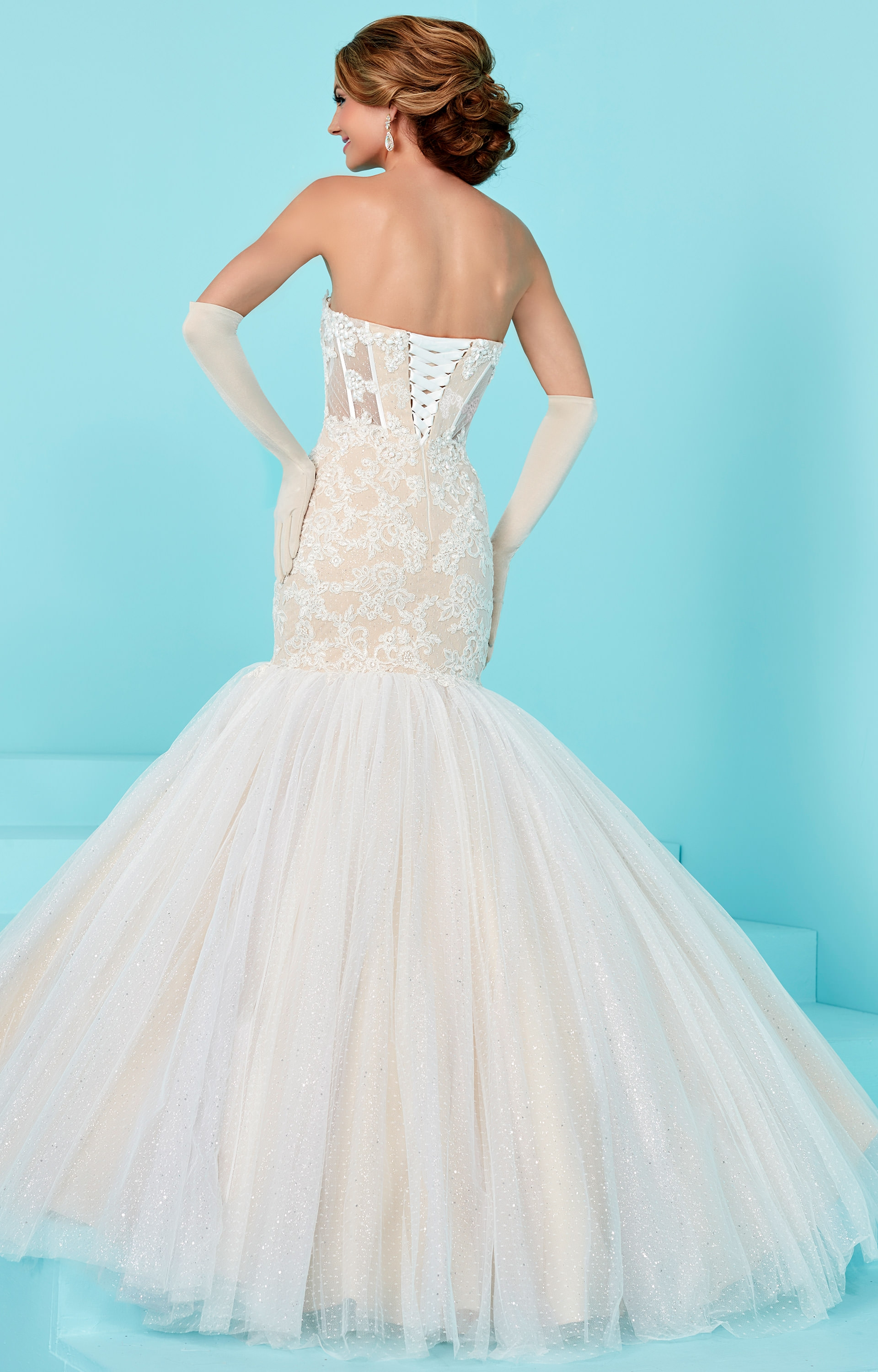 Tiffany Designs 16203 - Swiss Net and Lace Strapless Sweetheart ...