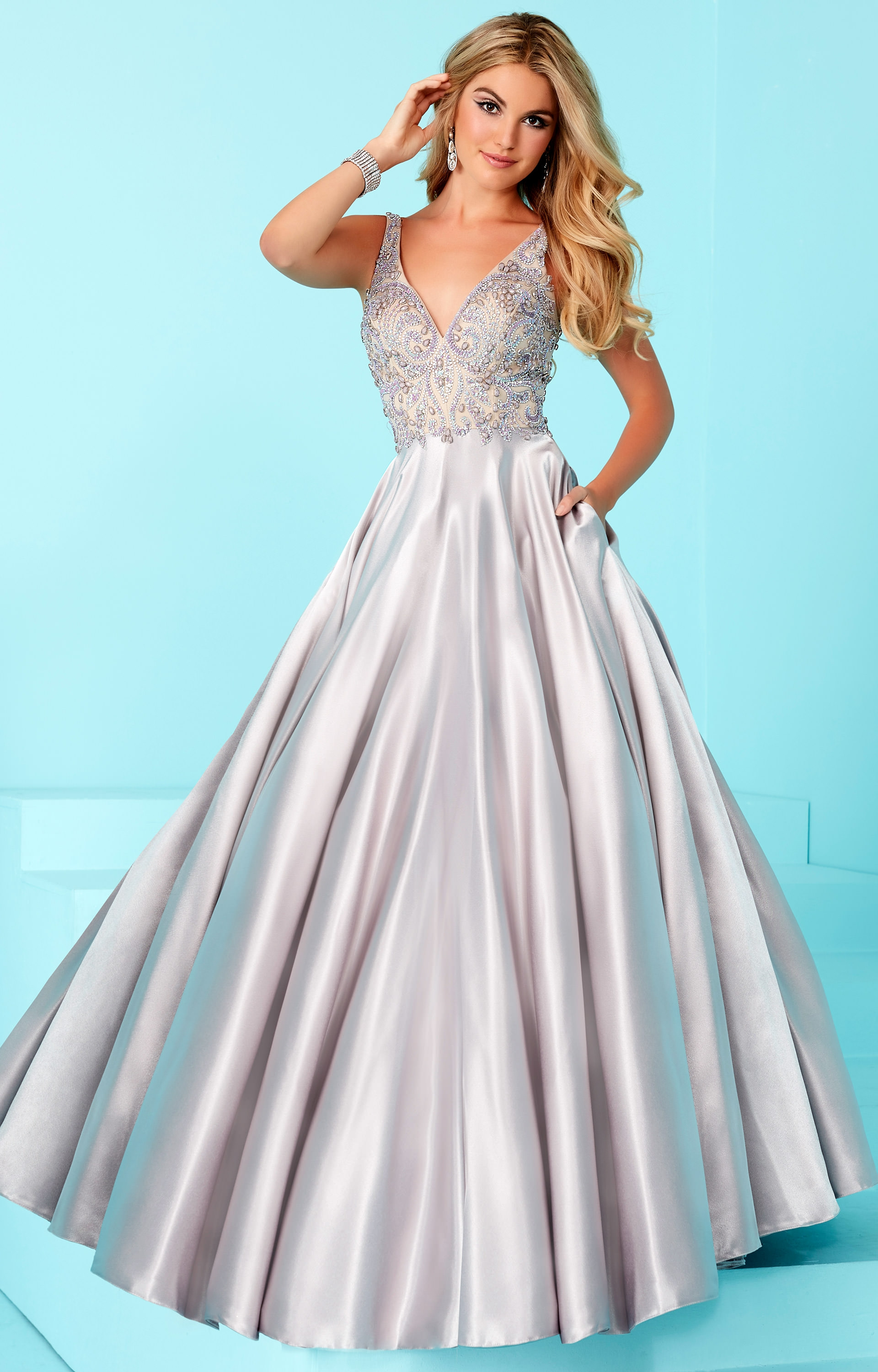 Tiffany Designs 16208 - Sleeveless Beaded Top Ball Gown Prom Dress