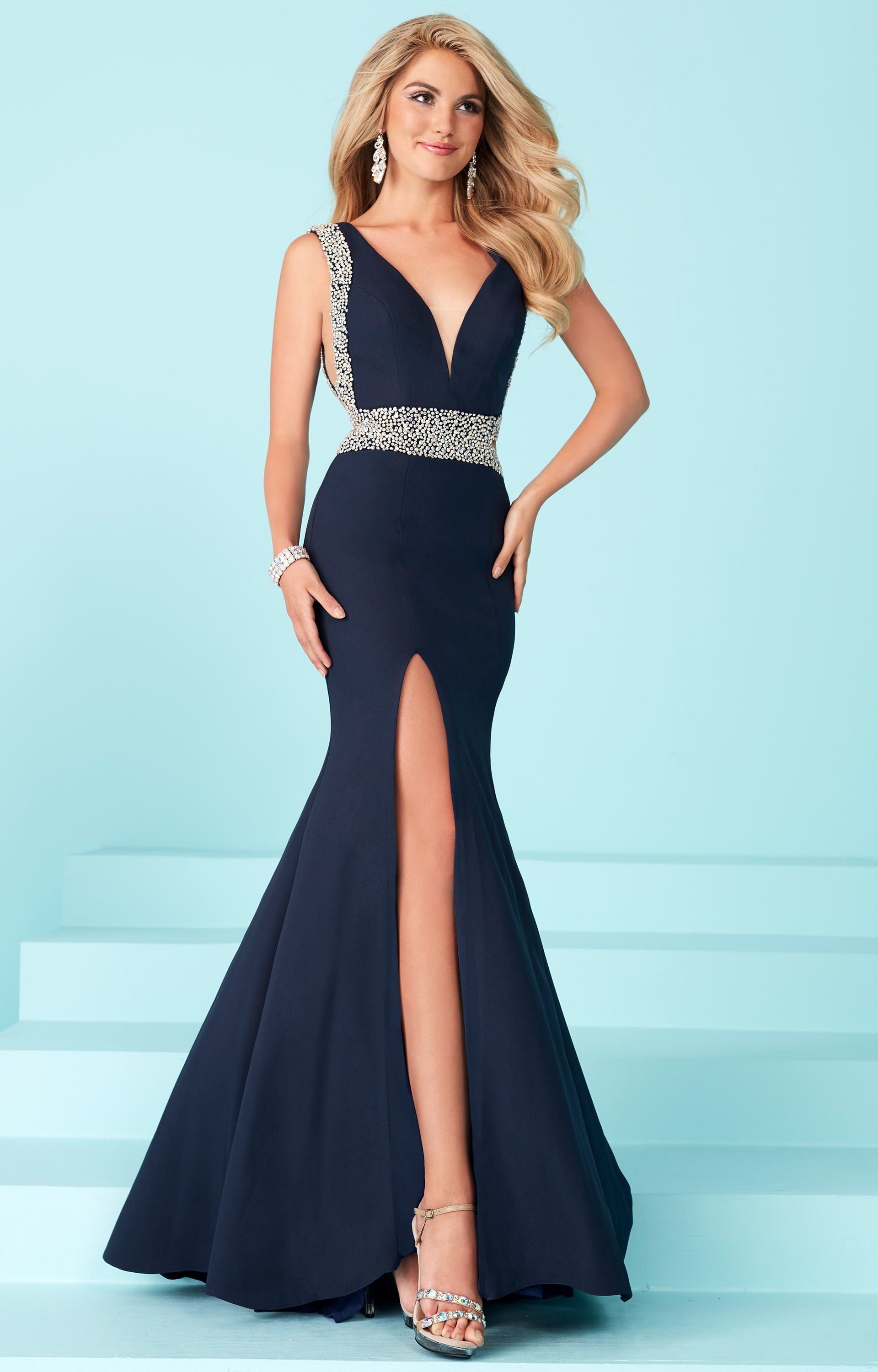 Tiffany Designs 16215 - V Neck Thin Straps Fitted Mermaid Dress Prom ...