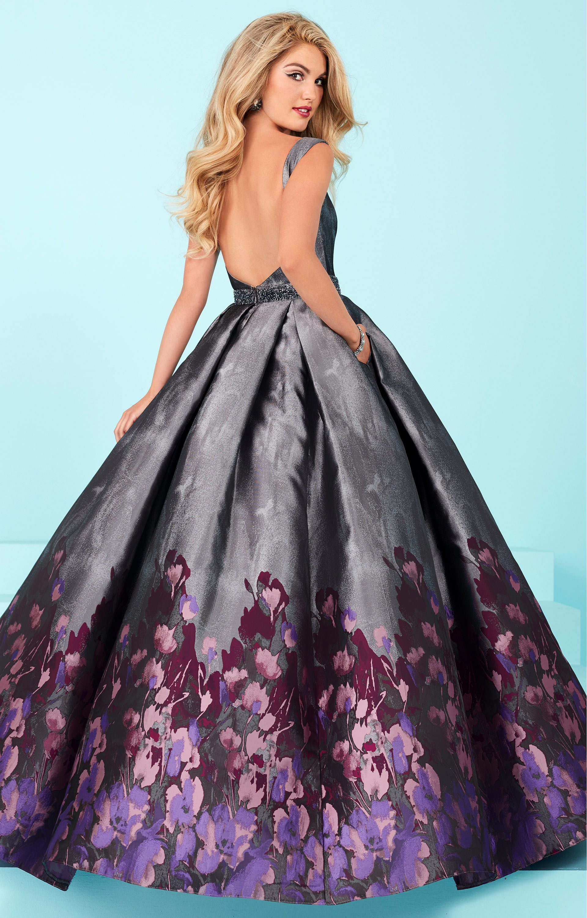 Tiffany Designs 16219 Sleeveless Printed Ball Gown With