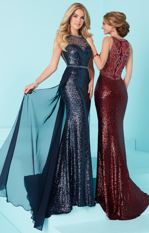 Tiffany Designs 16220 - Illusion Neckline Liquid Sequin Chiffon ...