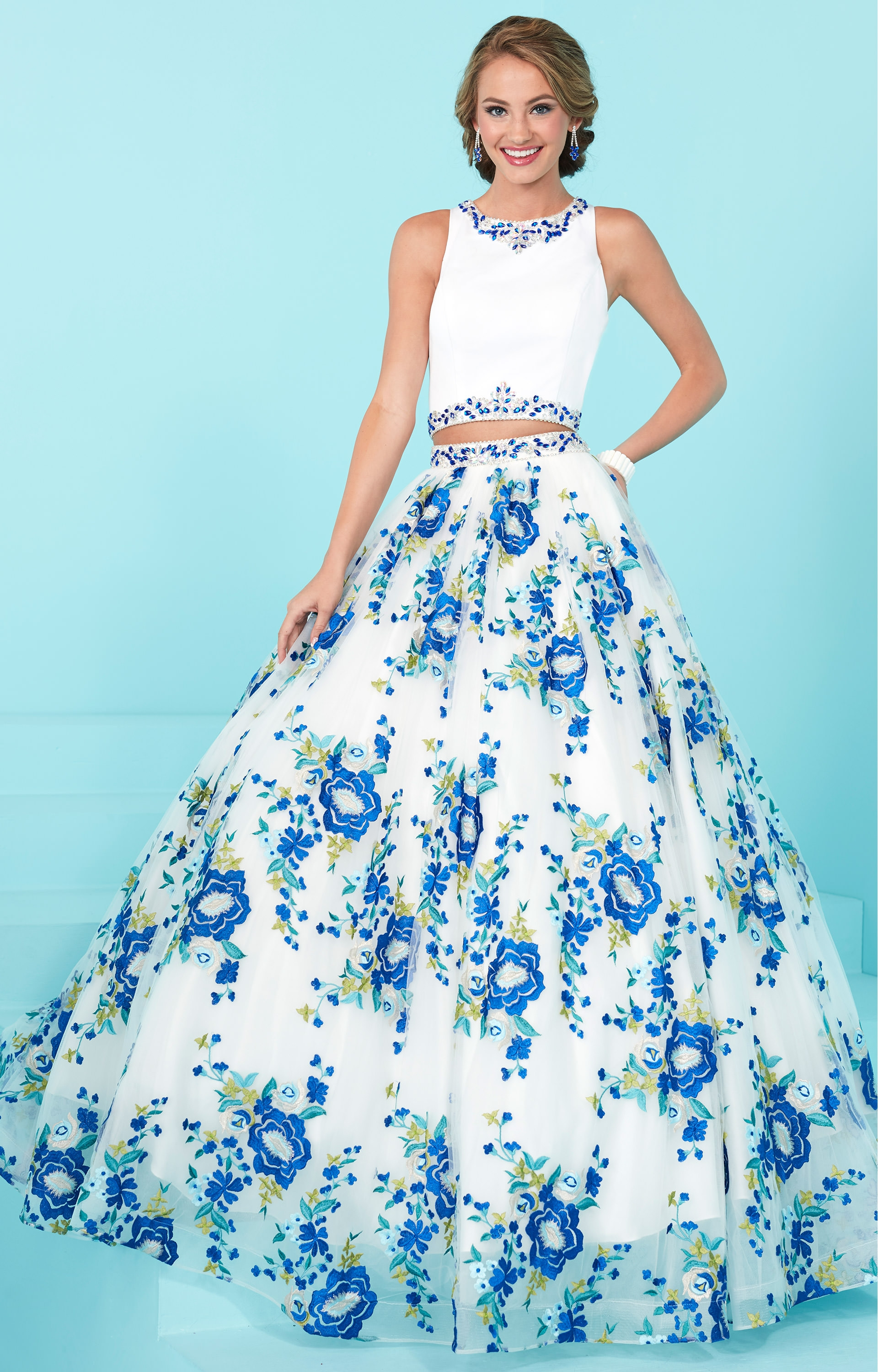 Tiffany Designs 16232 Two Piece Printed Ball Gown Prom Dress
