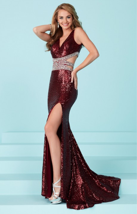 Tiffany Designs 16236 Fully Sequined Fitted High Slit