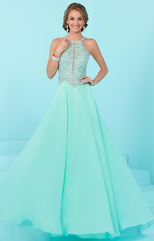 Tiffany Designs 16246 - Beaded Halter Chiffon Long Dress Prom Dress