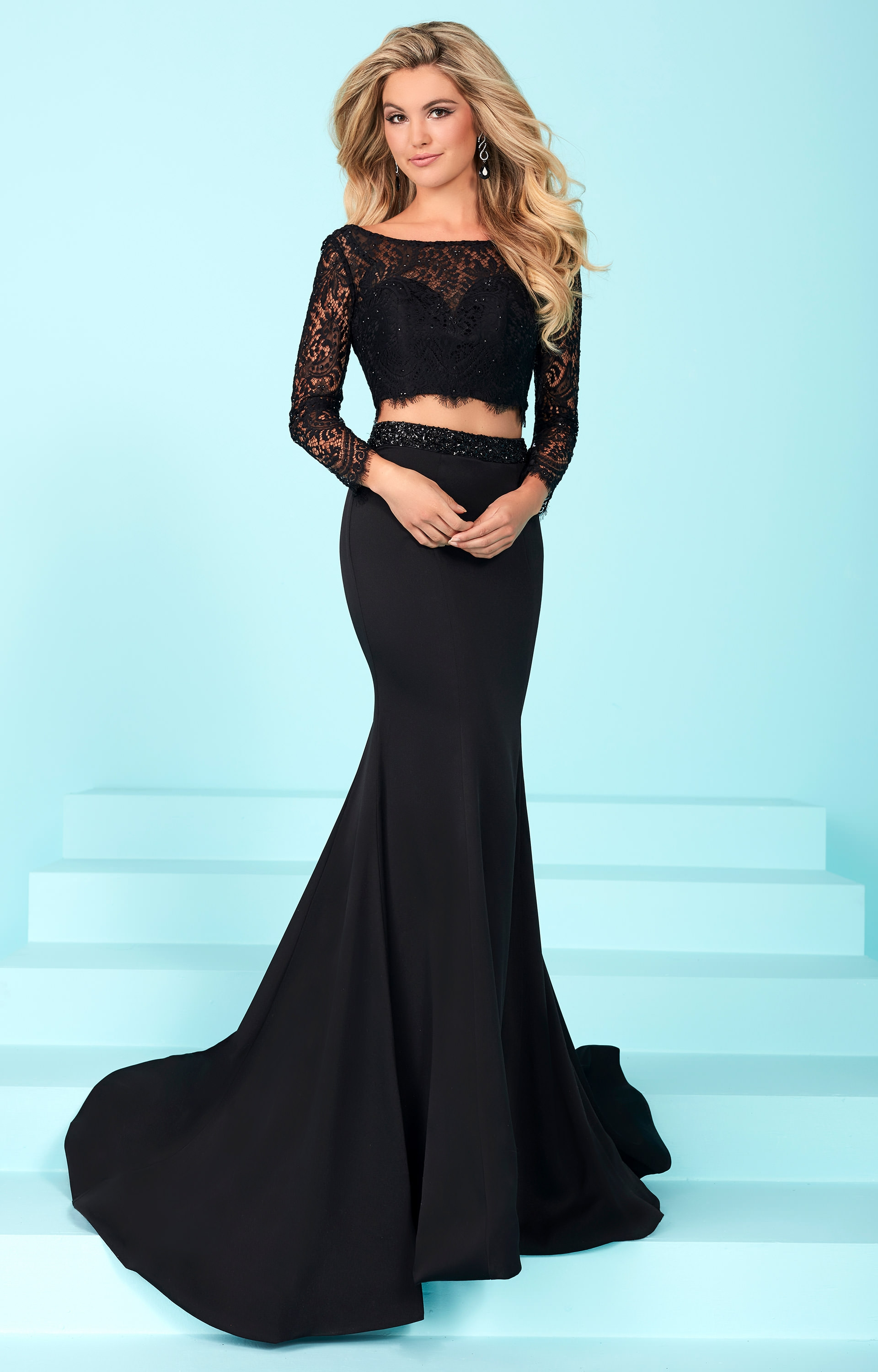 Tiffany Designs 16247 Long Sleeve Lace 2 Piece Dress