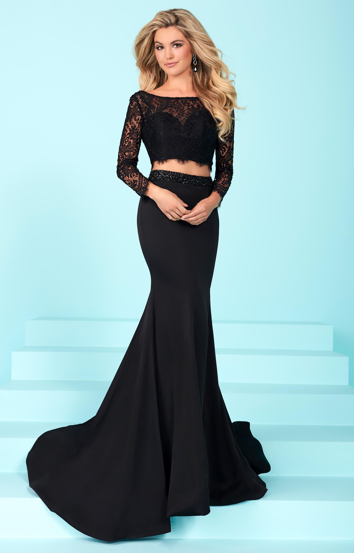 Tiffany Designs 16247 - Long Sleeve Lace 2 Piece Dress